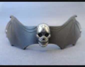 Leather Choker Collar Neck Accessories Bat Skull