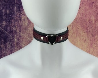 Choker genuine leather - Black and Burgundy double layer leather choker with heart ring (for metal allergies)