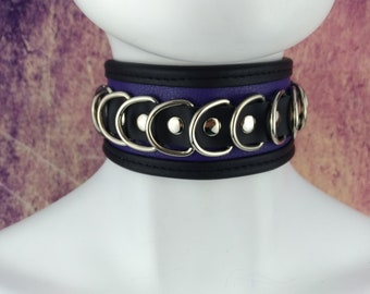 Choker Genuine Leather - Choker collar black & purple leather with lots of D rings