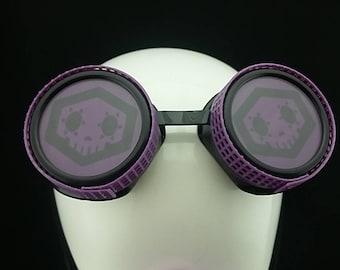 Sombra inspired by Overwatch game Purple goggle cyberpunk aviator sunglasses cosplay glasses cyber goggles goggles punk goggle yellow tubing