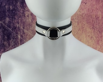 Choker Genuine Leather - Black & White double layer leather choker with Stainless Steel O Ring (for metal allergies)
