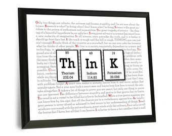 """Think Sign - Periodic Table Science Chemistry Wine Wood Sign with Built in Frame - 9""""x12"""" - Nerdy Gift - Geek Art"""