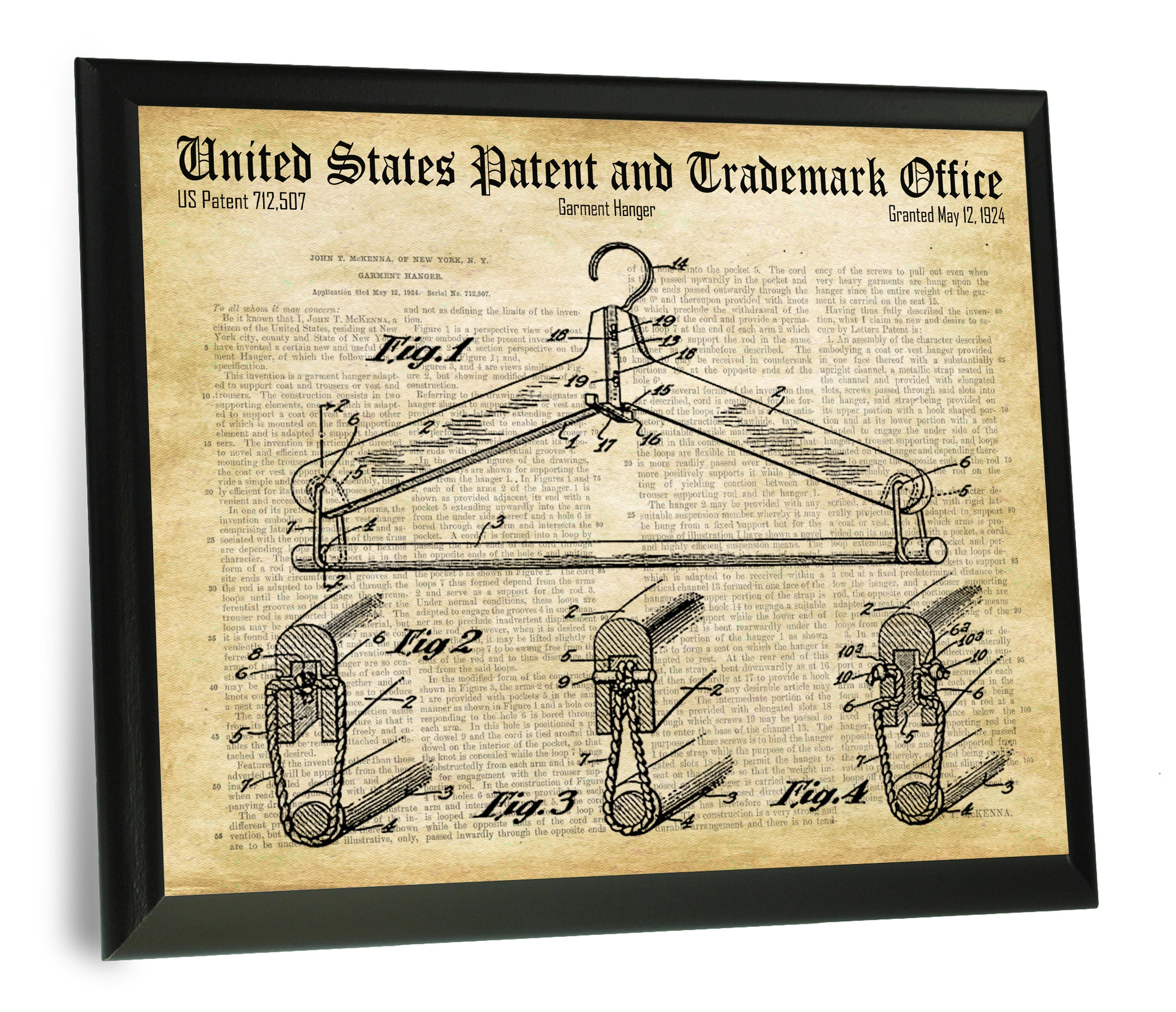 7eda2e9c6d9 Clothes Hanger Patent and Trademark Drawing 9 x 12 inch Wooden