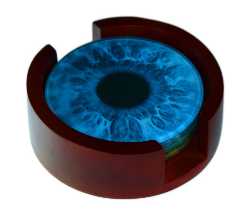 Eye Iris Images Glass Coaster Set  Caddy Included  4 Piece image 0