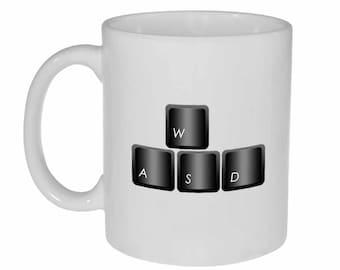 WASD mug - computer gamer keyboard funny white ceramic coffee or tea mug