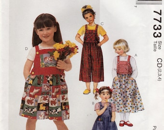 Girl's Jumper, Jumpsuit and Rompers, McCall's 7733 Sewing Pattern, Multi-Size 2, 3, 4, Uncut  With Factory Folds