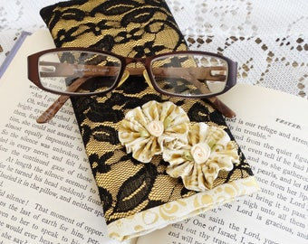 Black and Gold Glasses Case, Sunglasses, Eye Glasses, Floral, Free USA Shipping,