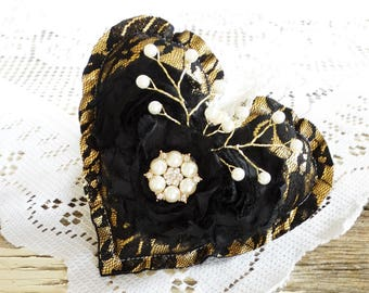 Heart Ornament, Heart Pillow, Valentine's Day, Love, Sweet Heart, Shabby, Lace, Free USA Shipping