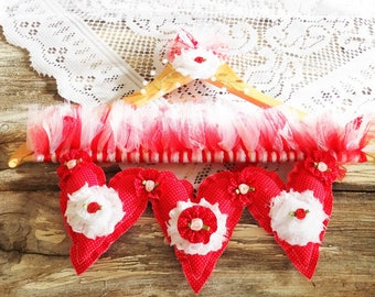 Hanging Heart Garland, Valentine's Day, Hearts, Shabby, Romantic, Roses, Red, Pink, Wedding Decor, Bridal Shower, Free USA Shipping