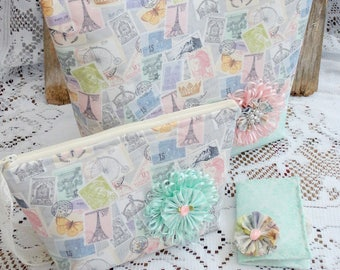 Fun in Paris Tote Bag Set, Zippered Pouch, Tea Bag Wallet, Book Bag, Music Bag, Lunch Bag, Mail Bag, Free USA Shipping