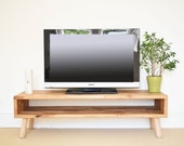 Mid Century TV Stand Coffee Table TV Unit Side Table TV Table Media Console Solid Oak Wood