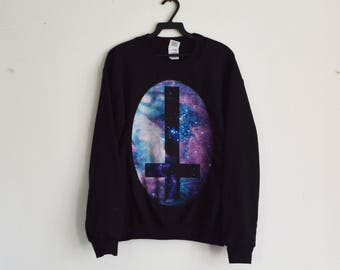 0ac922d2 Cosmic Space Galaxy Inverted Cross Pastel Goth Jumper Hipster Indie Swag  Dope Hype Black White Mens Womens Cute Alien UFO Aliens