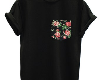 db7d682fb4689d Red   Black Vintage Rose Floral Print Pocket T-shirt Top Tee Hipster Indie  Swag Dope Hype Black White Mens Womens Cute Pocket Shirt