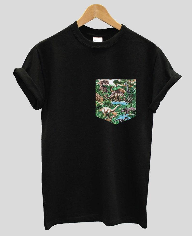 770adf1f0 Dinosaur Print Pocket T-shirt Shirt Top Tee Hipster Indie Swag | Etsy