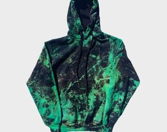Green Black Reverse Tie Dye Hoodie - Mens Womens Pastel Goth Alternative Gothic Handmade Fashion Sweatshirt