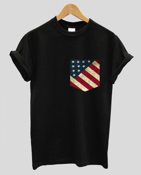 61ac66590f3 American USA Flag Print Pocket T-shirt Shirt Top Tee Hipster