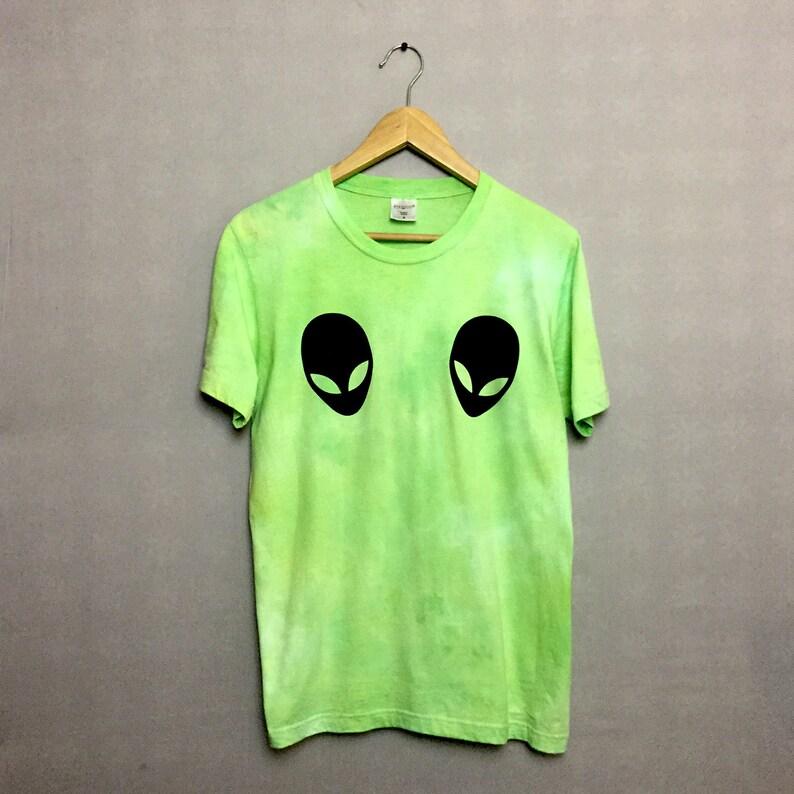 5dc040f3b5b0dc Pastel Goth Green Tie Dye Alien T-shirt Hipster Indie Swag