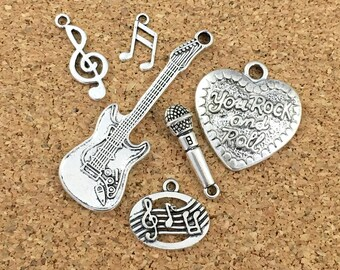 6 rock and roll music charms  collection antique silver 23mm to 55mm # ENS A 402-1