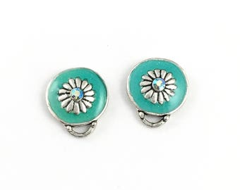 1 pair (2 pieces) of enamel post earring finding and silver tone with back stoppers , 15mm x 17mm #FIN E 045