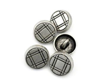 5 shank metal buttons,plaid pattern , antique silver ,17mm x 4mm # BU 004