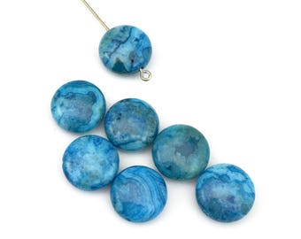 7 blue crazy lace agathe stone beads/ 14mm coin  #PP 193