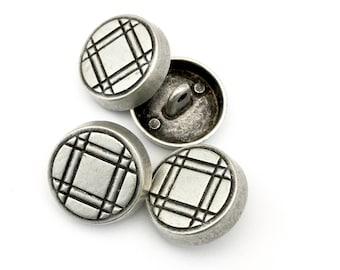 4 shank metal buttons,plaid pattern , antique silver ,22mm x 5mm # BU 004