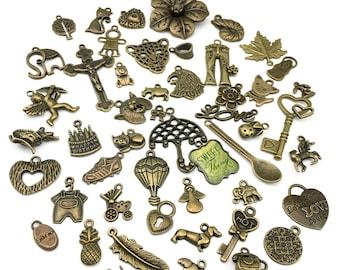 BULK 50mix charms,bronze tone # CH 97-2