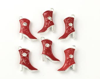6 western boot charms  ename and silver color,21mm  # CH 534