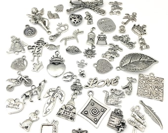 BULK! 50 mix charms,silver tone10mm to 48mm # CH MIX 01