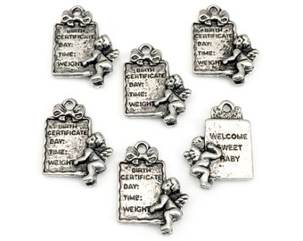 6 baby birth certificate charms , silver tone metal,14mm x 2mm  #CH 038