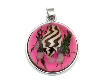 1 shell resin silver tone pendant,25mm #CH 088