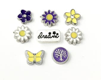 8 floating  springtime charms for  memory  locket,BIG SALE! #MINCH122