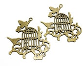 2 bird and cage charm bronze tone 55mm #CH295