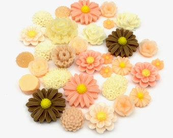30 pcs resin cabochon flowers assorted sizes # FL 137