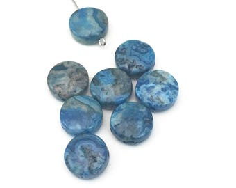 8 blue crazy lace agathe stone beads/ 12mm coin  #PP 110