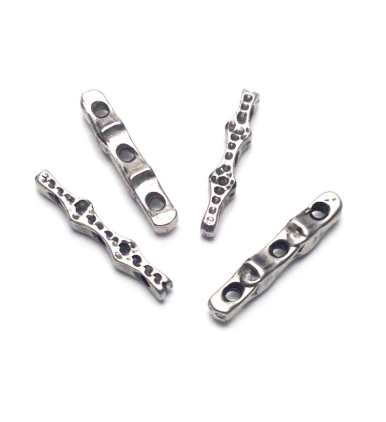3.5mm x 21mm  #CON089 4 connectors multi holes antique silver metal
