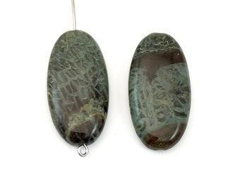2 snakeskin jasper stone beads/ 15 mm x 30mm  #PP 031-2