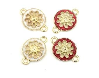 4 flower connectors gold tone & enamel 12mm x 18mm   #CON 481