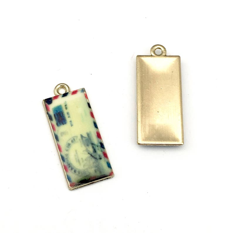 2 air mail letter charms gold tone and enamel 11mm x 26mm  #CH 445