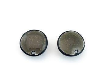 1 pair (2 pieces) of enamel post earrings findings with back stoppers, 14mm #FIN E 101