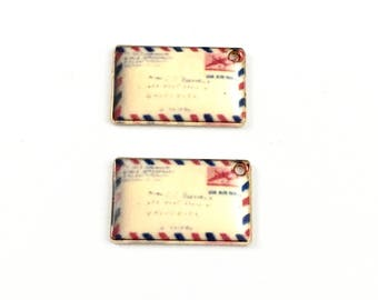 2 postcards charms gold tone and enamel , 18mm  #CH 379