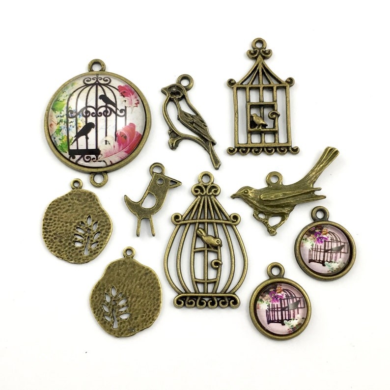 bronze tone 20mm to 35mm #ENS B 054-2 10 bird and cage charms,glass connector and pendant