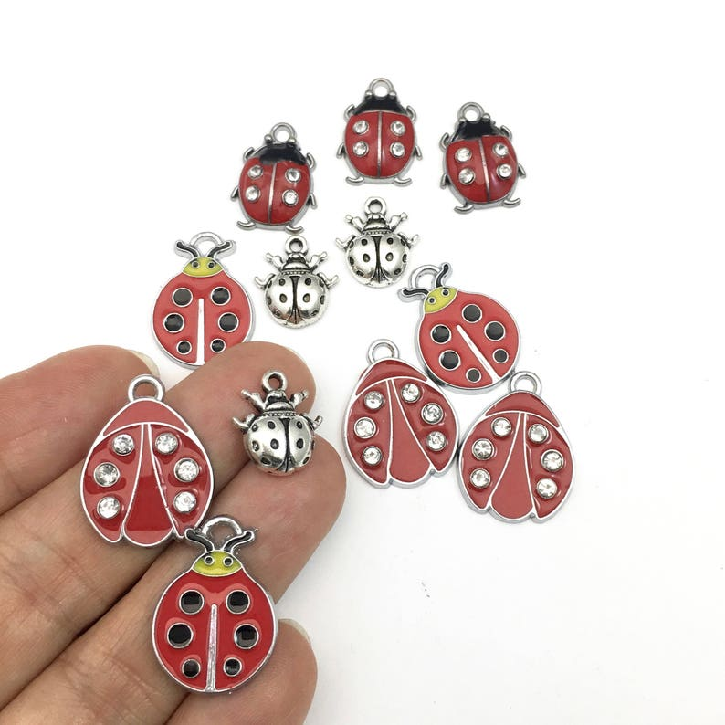 12 ladybug charms enamel and silver tone,15mm to 25mm #CH 606