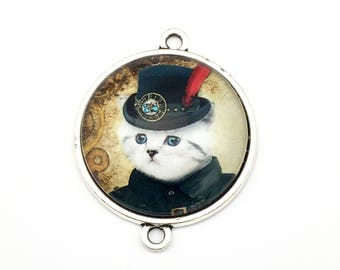 1 steampunk gentleman cat glass connector silver tone,30mm # CON 333