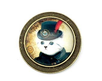 1 steampunk gentleman cat broach bronze tone,33mm # PEN 184