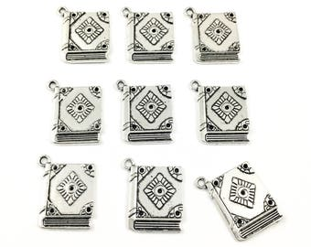 9 book charms silver tone, 21mm x 23mm  #CH 461