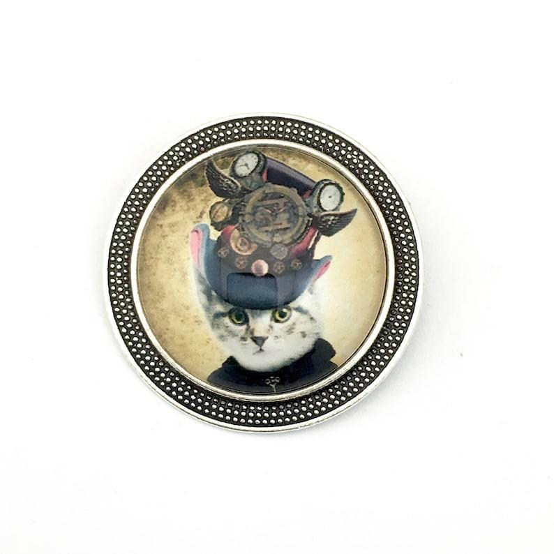 bronze tone 1 large tiger with butterflies glass cabochon pendant 50mm x 60mm # PEN 122
