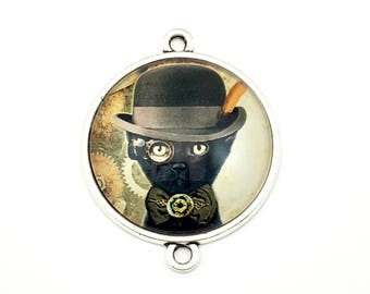 1 steampunk gentleman cat glass connector silver tone,30mm # CON 331