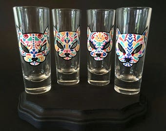 Cat Sugar Skull Shot Glass Set of 4, Dia de los Muertos Shot Glasses, Day of the Dead, Shot Glass Set, Kitty Halloween Shot Glasses