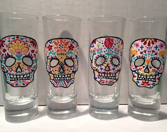 Sugar Skull Shot Glass Set of 4, Dia de los Muertos Shot Glasses, Day of the Dead, Shot Glass Set, Halloween Shot Glasses